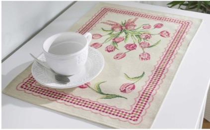 Tafelkleed - luxe gobelin - boeket Tulpen met ruiten rand