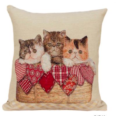 Kussenhoes Kittens in mandje met Hartjes