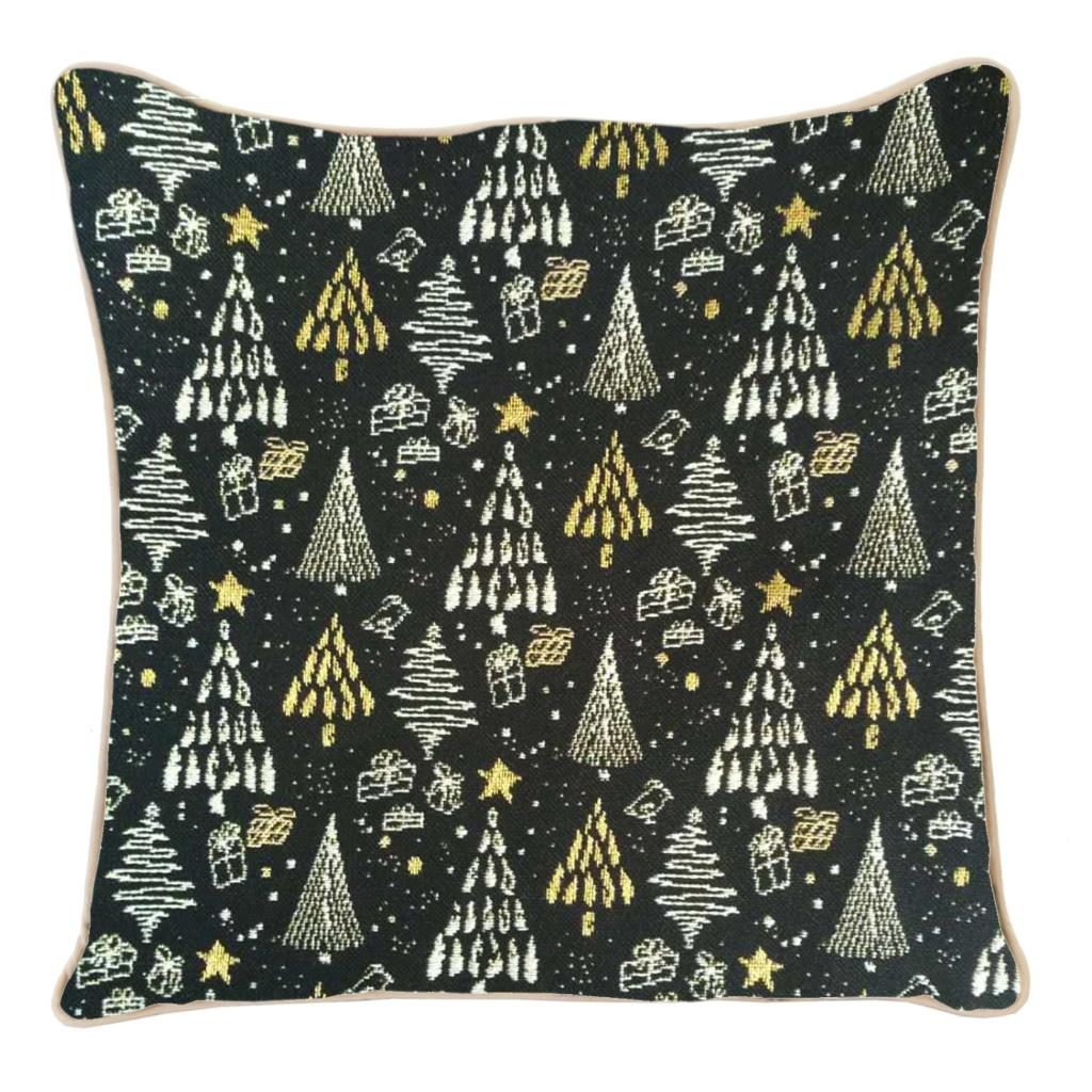 Kussenhoes – Xmass – Tree – Black and Gold – Kerstboom