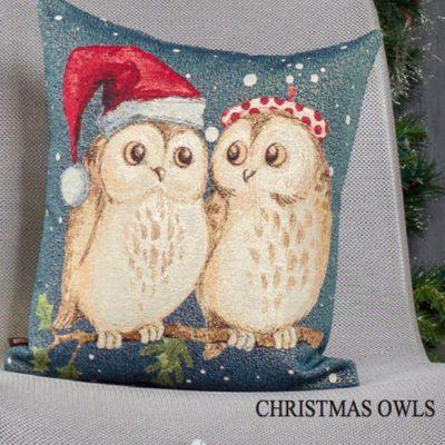Kussenhoes Christmas Owls - Kerst uilen