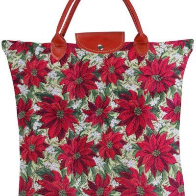 Vouwtasje - Xmass - Poinsettias - Kerstster