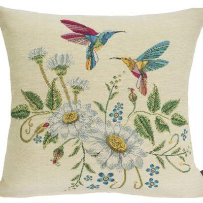 Kussenhoes - Kolibrie - Bloemen - witte achtergrond