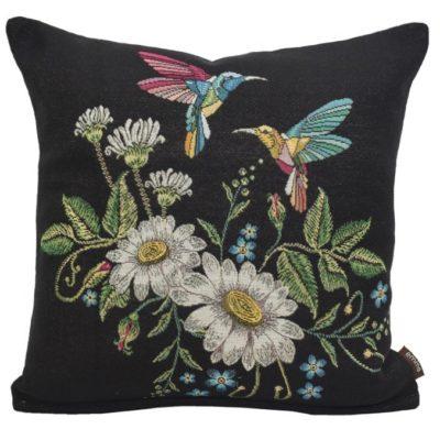 Kussenhoes - Kolibrie - Bloemen - Zwarte achtergrond