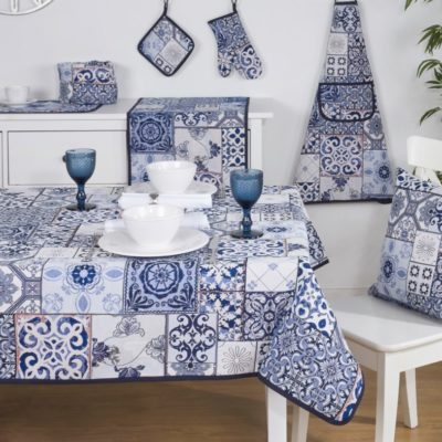 Tafelkleed - luxe gobelin - Mural - Tegelmotief - Delfts blauw