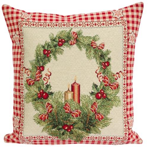 Kussenhoes – luxe gobelinstof – Christmas Candles – Kerst
