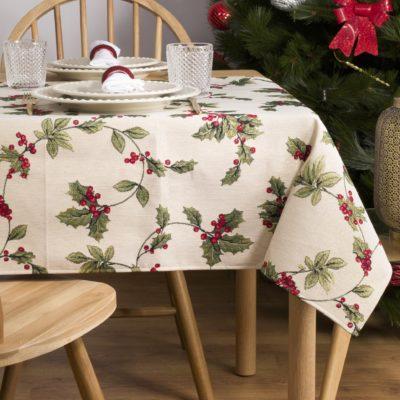 Tafelkleed serie - luxe gobelinstof - Mistletoe - Kerst - Hulst