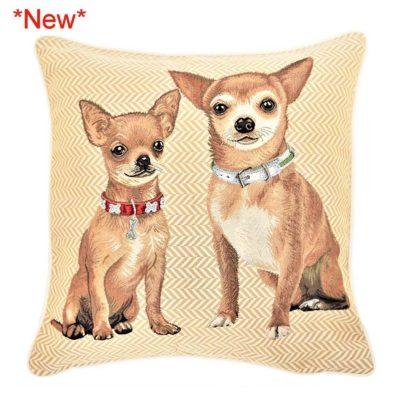 Kussenhoes - luxe gobelinstof- Chihuahuas - Cremekleur - Honden - Hond
